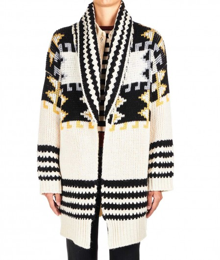 "8PM Long patterned cardigan ""Capricorno"" beige"