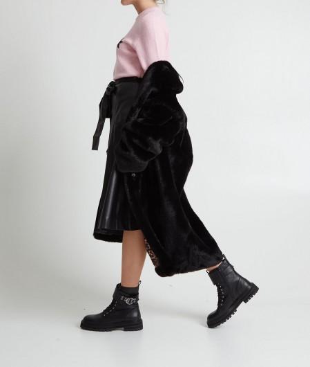 Twin Set Eco leather flared skirt black