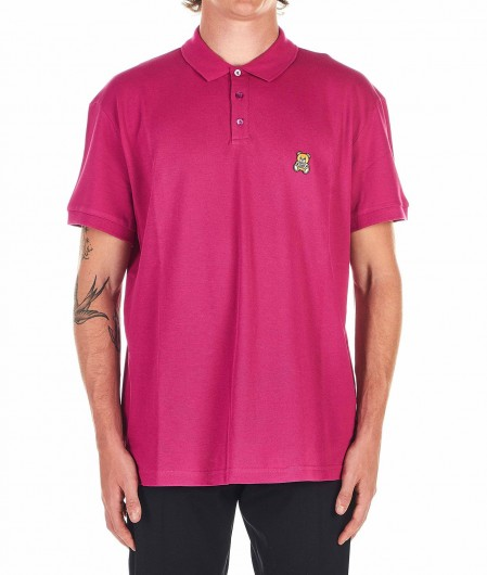 Moschino Polo shirt with logo embroidery pink