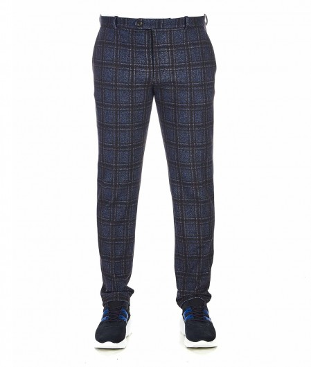 Circolo 1901 Trousers with checked pattern blue