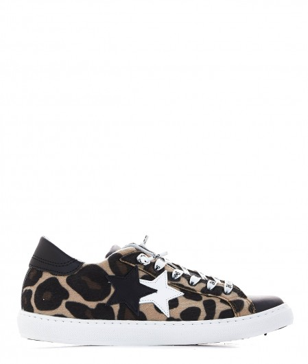 2 Star Sneaker with animal print beige