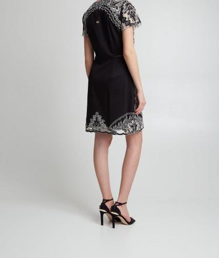 Twin Set Cocktail-Kleid mit Fransen Schwarz