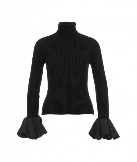 Elisabetta Franchi Ribbed knit shirt with flounce sleeves black