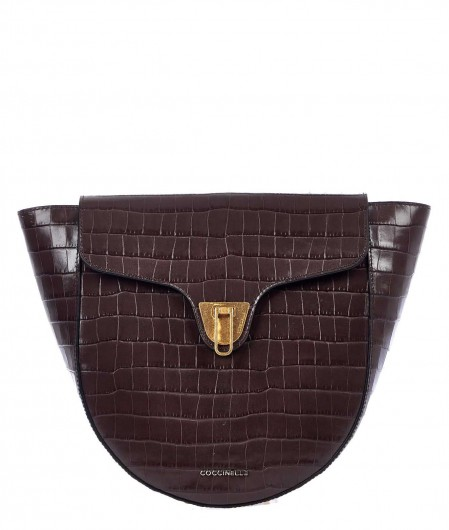 "Coccinelle Saddle bag ""Beat Croco"" dark brown"