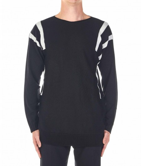 MD75 Knitted sweater with contrasting color stripes black