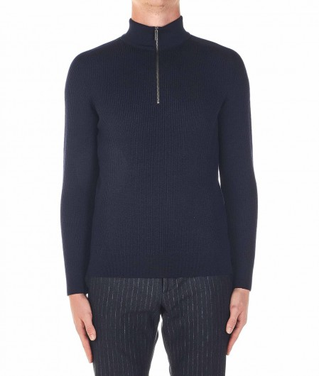 Phil Petter Sweater with zip blue