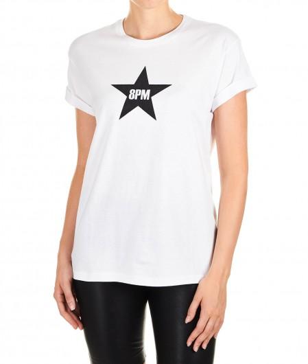 """8PM T-shirt con logo """"Dallas"""" bianco"""