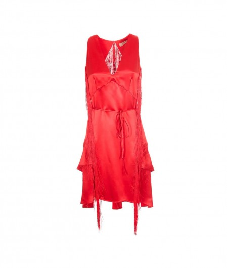 Twin Set Cocktail dress with fringes red