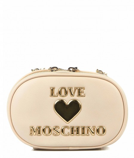 Love Moschino Crossbody bag with logo patch creme