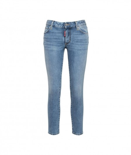 Dsquared2 Medium Waist Cropped Twiggy Jean light blue