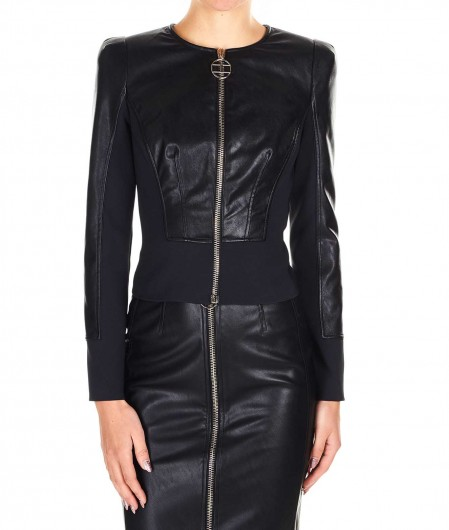 Elisabetta Franchi Jacket in faux leather and neoprene black