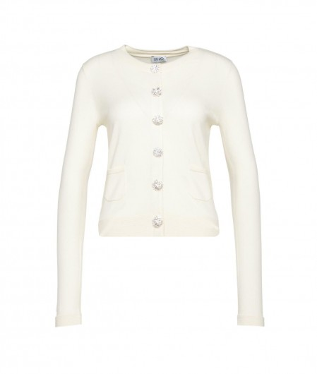 Liu Jo Cardigan with strass buttons creme