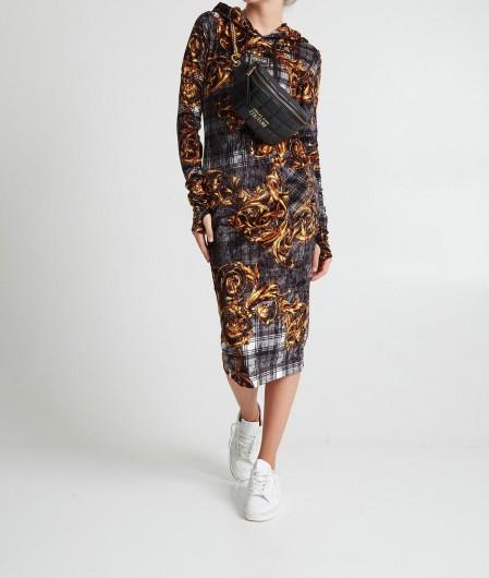 Versace Jeans Couture Samtkleid im Highland Print Gold