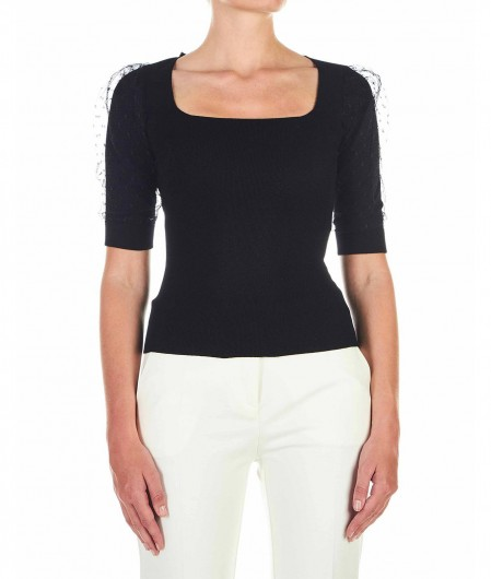 RED Valentino  Shirt with tulle sleeve black