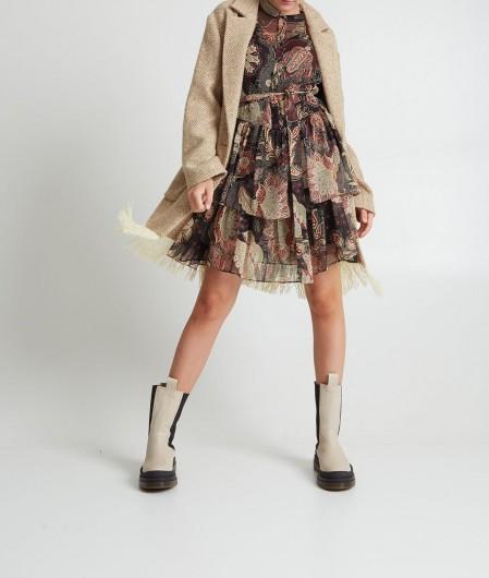 Twin Set Floreales Mini-Kleid Schwarz