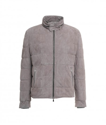 Volfagli Quilted leather jacket gray