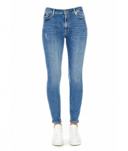 7 for all mankind Skinny Cropped Jeans Blau