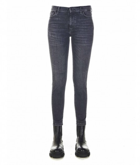 """7 for all mankind Jeans """"high waisted skinny crop"""" Schwarz"""