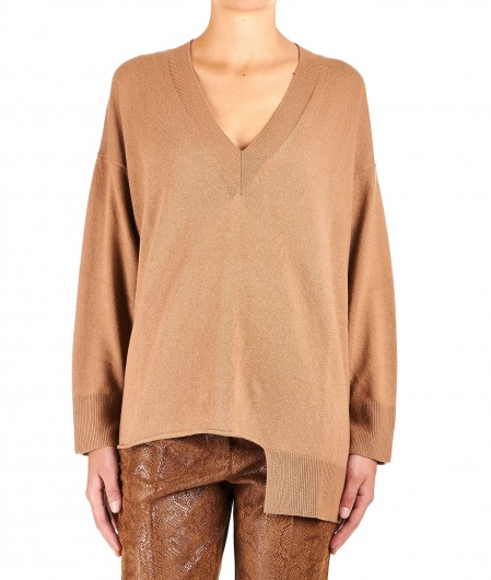 "8PM Sweater in wool blend ""Cigno"" light brown"