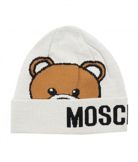 Moschino Knitted beanie with logo white