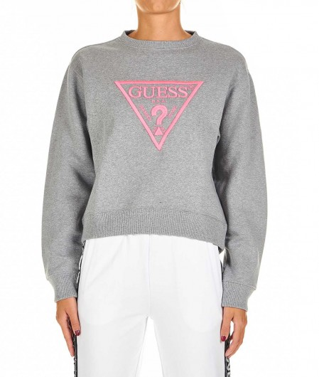 Guess Sweatshirt with logo embroidery light gray