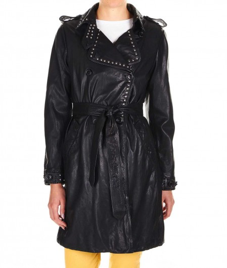 Bully Leather coat with studs black