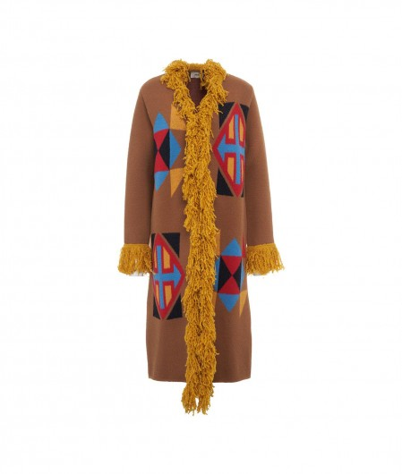 Akep Ethno cardigan with fringes brown