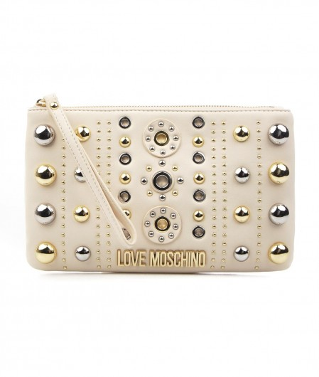 Love Moschino Shoulder bag with studs application ivory