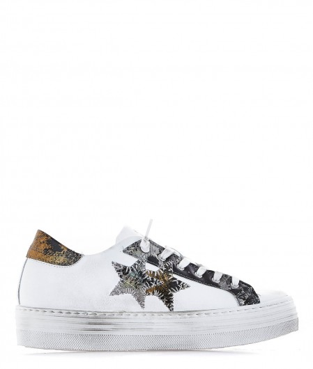 2 Star Leather sneaker with metallic details white