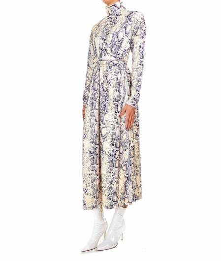 Weili Zheng Velvet dress with python print creme