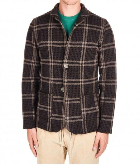 Albarena Knitted wool blazer dark brown