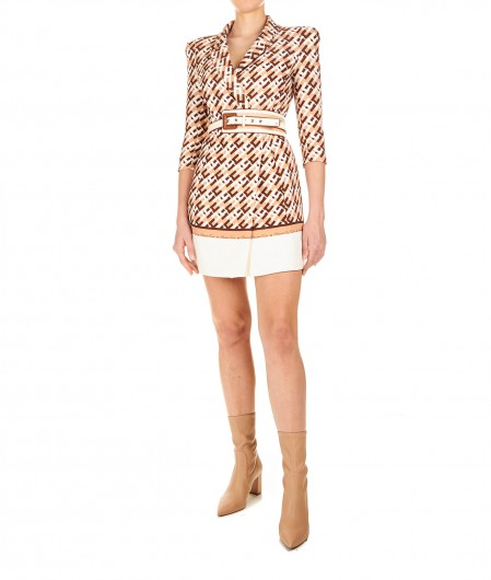Elisabetta Franchi Blazer dress with allover logo print light brown
