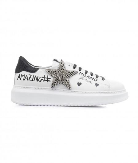 Gio+ Sneakers mit Glitzer-Applikation Weiß