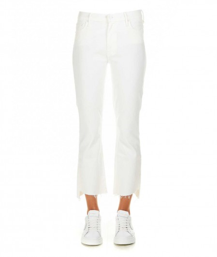 Mother The Insider Crop Step Fray Jean white