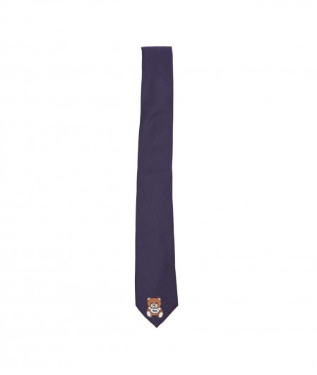 Moschino Tie with logo print navy