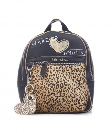 """Nira Rubens Hand painted backpack """"Leopard"""" black"""