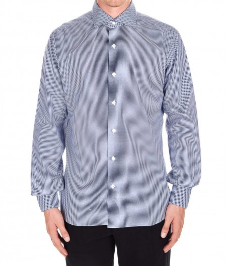 Barba Lightweight cotton shirt with print navy