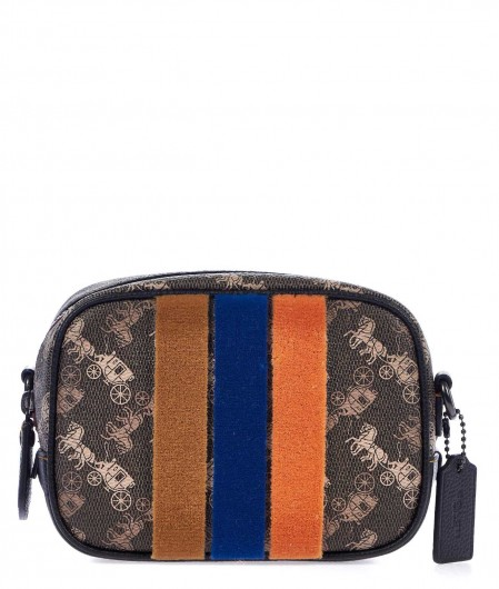 Coach Small crossbody bag with velvet stripes dark brown
