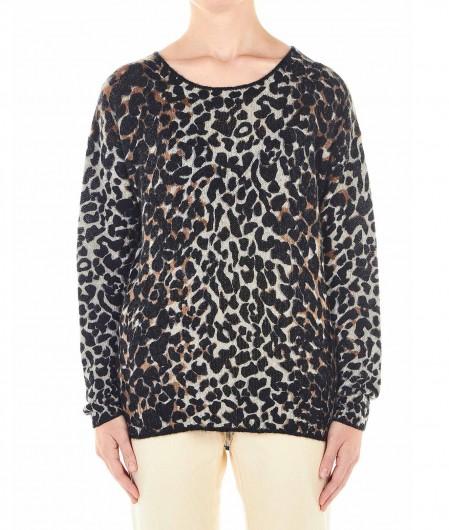 """360 Sweater Pullover in Animalprint """"Frankie"""" Schwarz"""