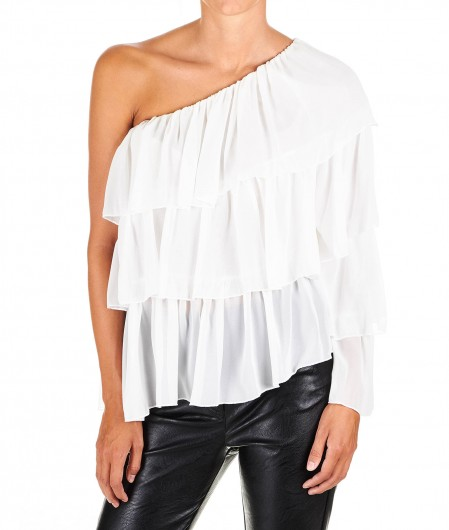 "Aniye By Asymmetrical ruffled top ""Chris"" white"