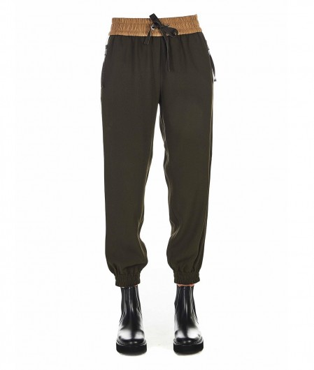 Moncler Jogging pants with contrasting color stripes green