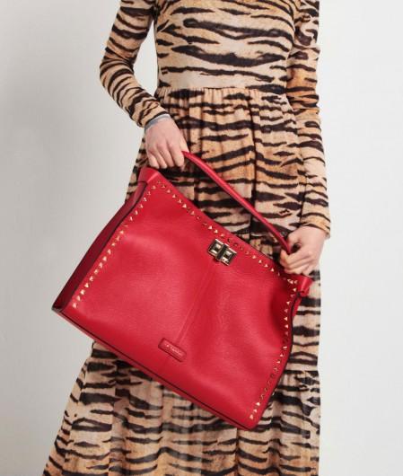 La Carrie Shopper mit Nieten Rot