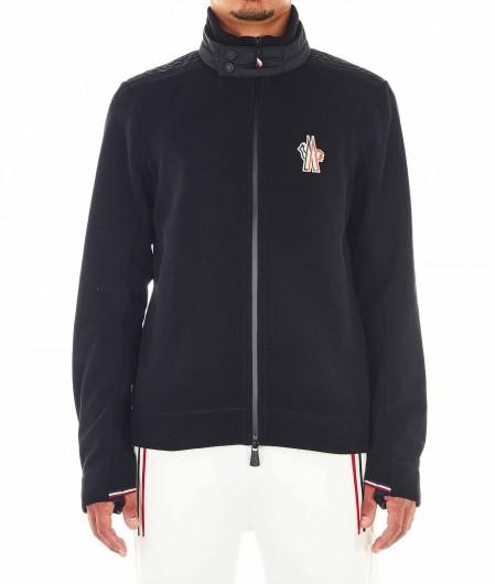 Moncler Fleece-Jacke mit Logostickerei Schwarz