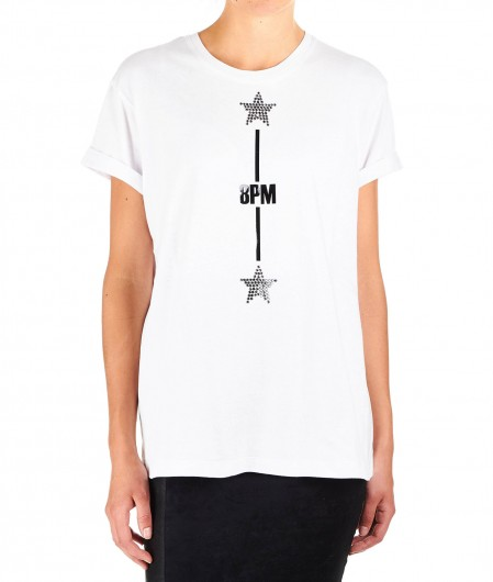 "8PM T-shirt with logo and strass ""Tucano"" white"