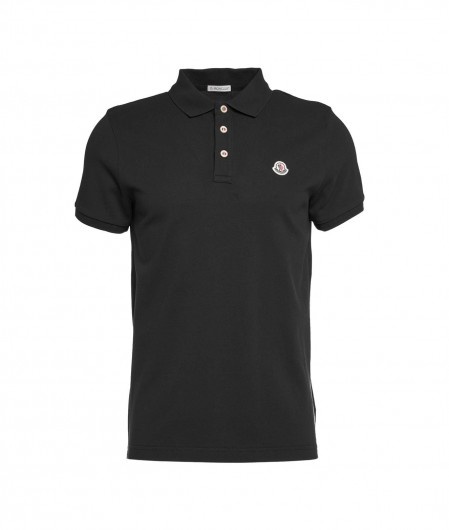 Moncler Polo with logo embroidery black