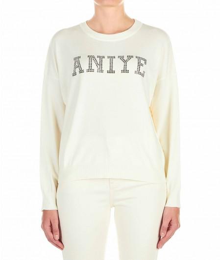 Aniye By Pullover mit Strass-Logo Weiß