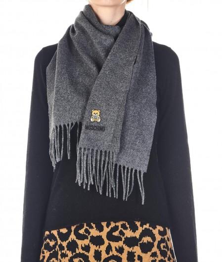 Moschino Schal mit Logostickerei Grau