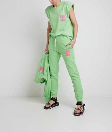Chiara Ferragni Joggers with logo green