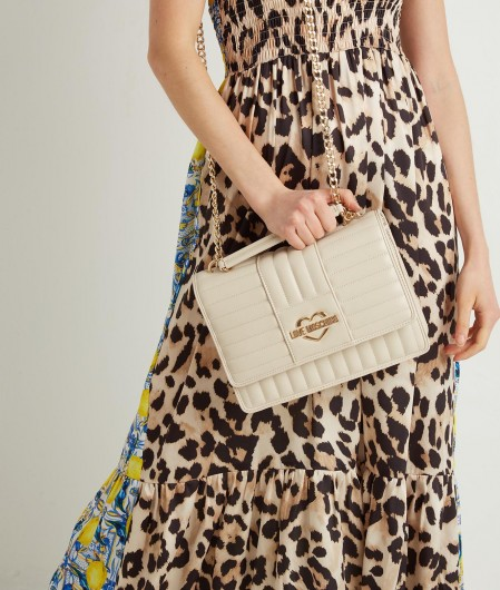 Love Moschino Quilted crossbody bag creme