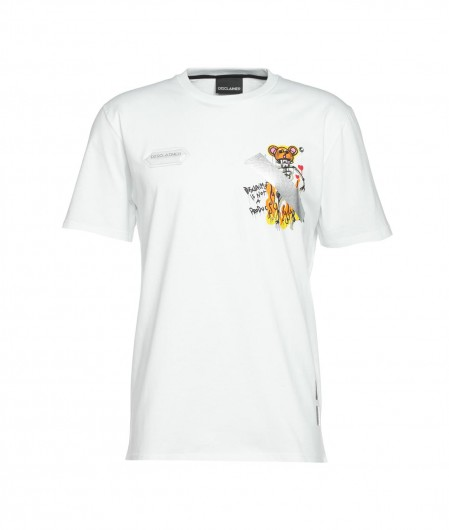 Disclaimer T-shirt with print and logo white